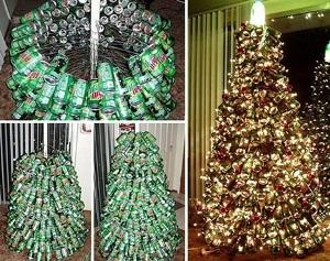 Новогодняя елка из жестяных банок